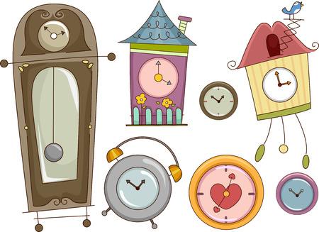 reloj cucu: Ilustración que ofrece relojes de colores con diferentes diseños