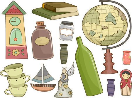 collectibles: Illustration Featuring Different Collectibles for Hobbyists Stock Photo