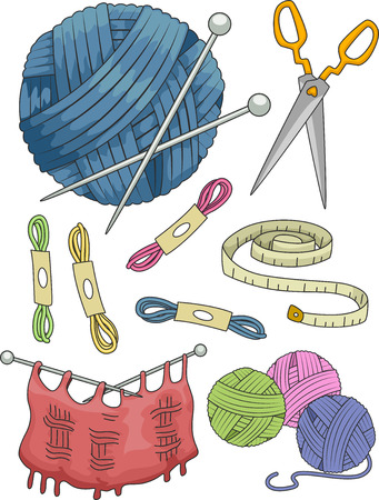 measuring tape: Illustration Featuring Different Items Commonly Used in Knitting
