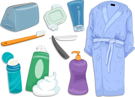 toiletry: Illustration Featuring Different Items and Toiletries Commonly Used When Taking a Bath