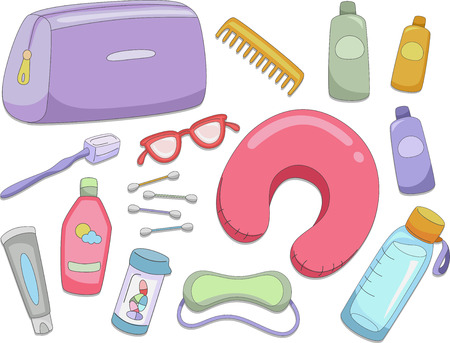 used items: Illustration Featuring Different Items Commonly Used When Traveling