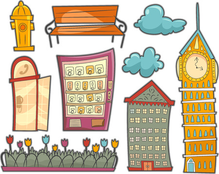 fixtures: Illustration Featuring Different Fixtures Commonly Found in Streets