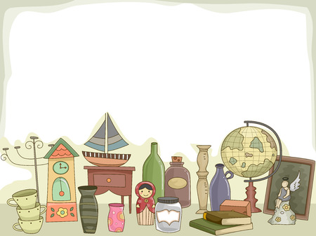 Illustration Featuring Different Collectibles for Hobbyists Stock Photo