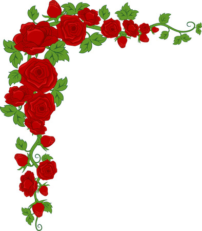 Illustration of a Corner Border Featuring Red Roses Stock Photo