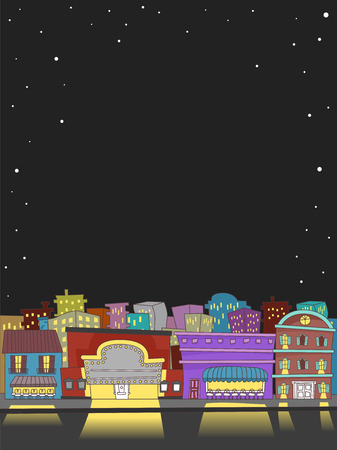 Illustration Featuring Well-lit Buildings Catering to People Out to Party on a Saturday Night Stock fotó