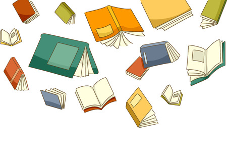 bookish: Illustration Featuring Different Books Falling from the Sky Stock Photo