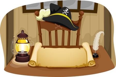 Illustration, die eine Tabelle, Stuhl, Piratenhut und Blank Paper Scroll