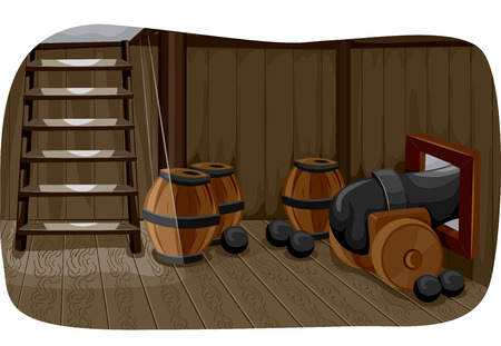 Illlustration Featuring a Gun Deck Used to Store Cannonballs, Barrels of Gunpowder, and a Cannon photo