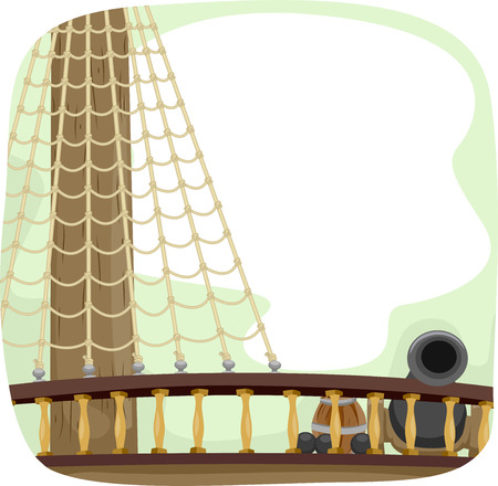 deck cannon: Illustration of a Ship Deck with a Cannon Ready to be Fired
