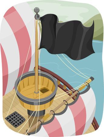 drapeau pirate: Illustration d'un drapeau Survoler Pirate dessus d'un nid-de-Corbeau Banque d'images