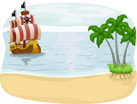 island clipart: Illustration of a Pirate Ship Approaching an Island
