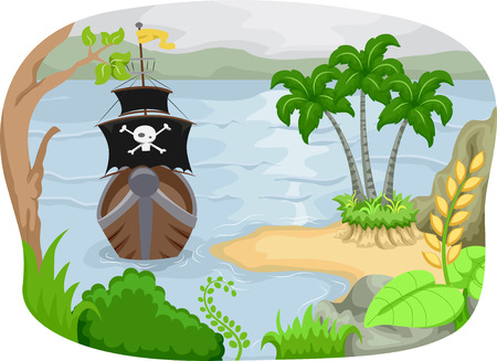 approaching: Illustration of a Pirate Ship Approaching an Island