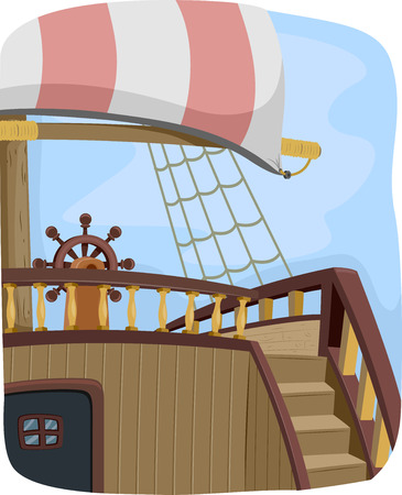 Illustration Featuring the Steering Wheel of a Pirate Ship illustration