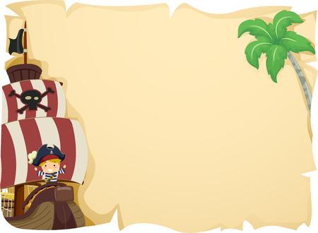 Ilustración de un niño Dominando un barco pirata
