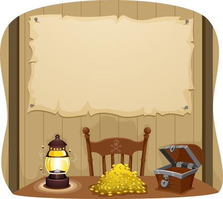 Ilustración Banner Con una tabla con las monedas de oro por ahí Foto de archivo