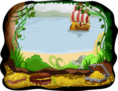 booty: Illustration of a Pirate Ship Visible from a Cave Filled with Treasure Stock Photo