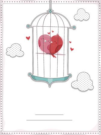 lovebirds: Invitation Card Illustration Featuring Lovebirds Cuddling Inside a Cage