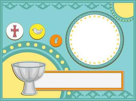 Ilustración de la invitación bautismal Con una pila bautismal y otros iconos religiosos