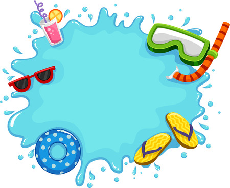 floaters: Frame Illustration Featuring Water Splashing on the Screen Along with Common Items Used During the Summer Stock Photo