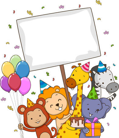 animal themes: Board Illustration Featuring Safari Animals Carrying Different Party Supplies