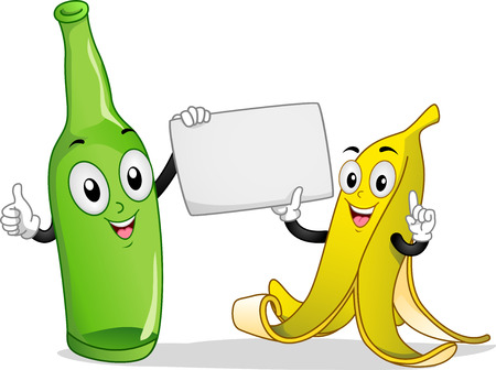 Board Illustration Featuring a Banana and Bottle Mascot Holding a Blank Piece of Paper illustration