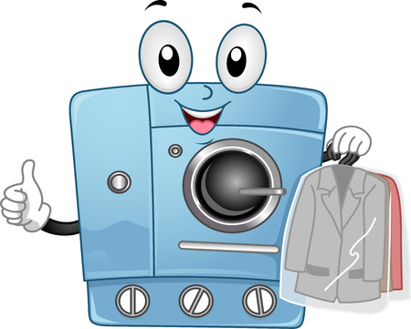tumble: Mascot Illustration Featuring a Dry Clean Machine Stock Photo
