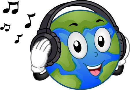 Mascot Illustratie Met een Happy Mother Earth Naar muziek luisteren