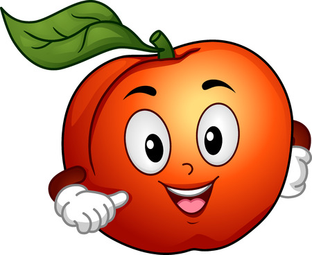 Mascot Illustration Featuring a Happy Peach Pointing to Itself illustration