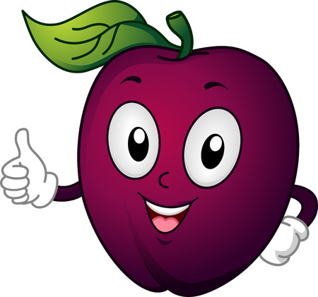 diet cartoon: Mascot Illustration Featuring a Plum Giving a Thumbs Up