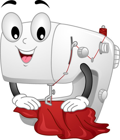 Mascot Illustration Featuring a Sewing Machine Sewing a Piece of Cloth illustration