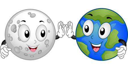 high five: Mascot Illustration Featuring the Moon and the Earth Doing a High Five