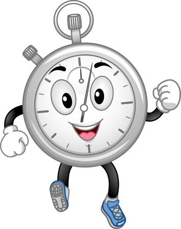hurrying: Mascot Illustration Featuring a Running Stopwatch Stock Photo