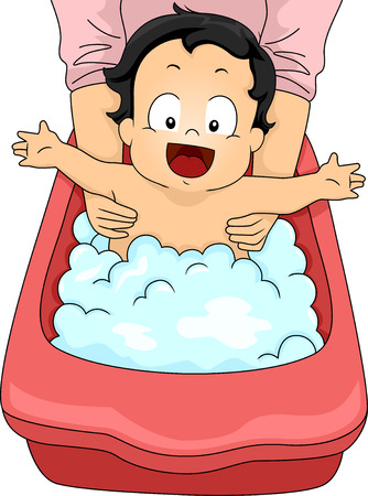Illustration of a Happy Baby Boy Taking a Bubble Bath illustration