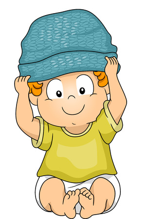 beanie: Illustration of a Baby Boy Wearing a Beanie