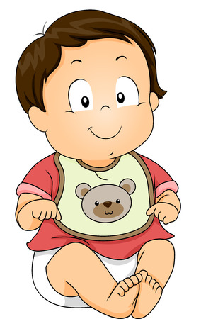Illustration of a Baby Boy Wearing a Bib with a Bear Design illustration