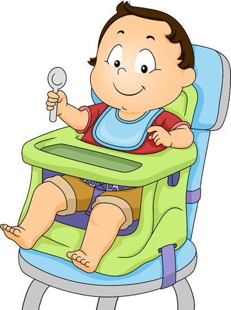 strapped: Illustration of a Baby Boy Strapped to a Booster Seat