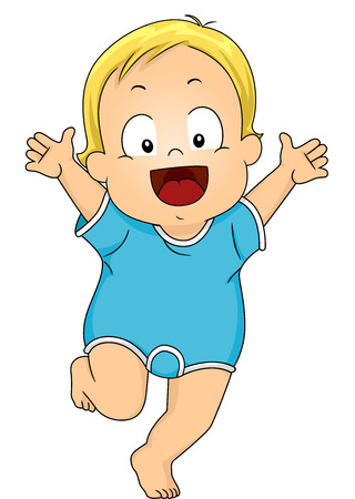 baby romper: Illustration of a Happy Baby Boy Wearing Romper