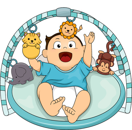 cartoon baby boy: Illustration of a Happy Baby Boy Playing with the Toys Attached to His Musical Gym