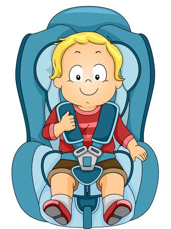 asiento coche: Ilustraci�n de un ni�o atado a un asiento de coche