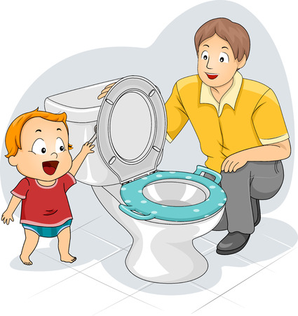 Illustration of a Father Teaching His Toddler How to Flush the Toilet Stock Photo