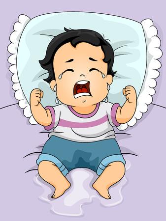 niño llorando: Ilustración de un niño Baby Crying Out Loud Después de mojar su cama Foto de archivo