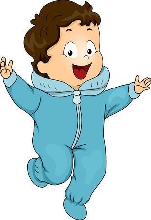 onesie: Illustration of a Happy Baby Boy Wearing a Winter Onesie Stock Photo