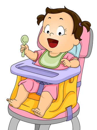 booster: Illustration of a Smiling Baby Girl Strapped to a Booster Seat Stock Photo
