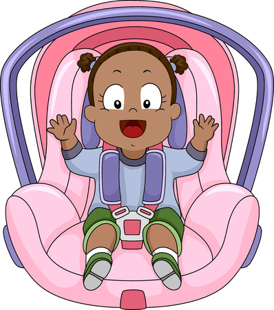 strapped: Illustration of a Smiling Baby Girl Strapped to a Car Seat