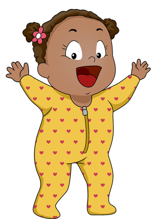 footie: Illustration of a Smiling Baby Girl Wearing Footie Pajamas
