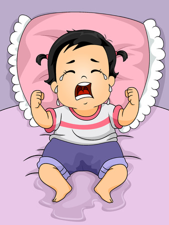 Illustration of a Baby Girl Crying Out Loud After Wetting the Bed Banco de Imagens