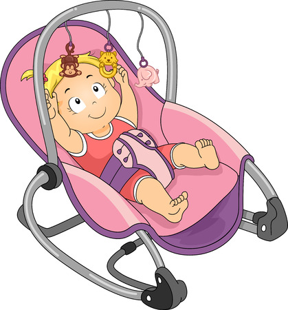 Illustration of a Baby Girl Trying to Reach the Toys Attached to Her Rocker illustration