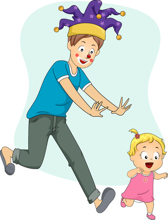 Illustration of a Father Wearing a Fools Cap Playfully Chasing His Baby Girl