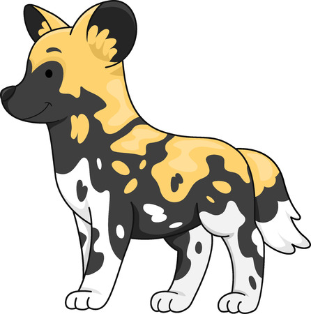 wild dog: Illustration of a Cute African Wild Dog Standing at Attention