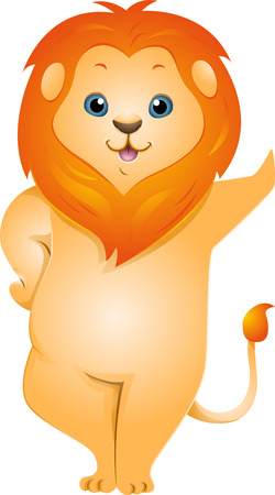 Illustration of a Cute Lion Leaning Against an Imaginary Wall illustration